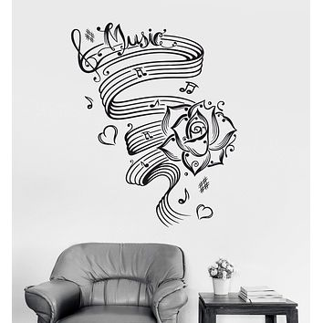 Vinyl Wall Decal Music Room Decor Musical Notes Rose Stickers Mural Unique Gift (ig3354)