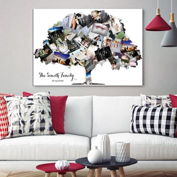Custom Family Tree Art Print Wall Art Canvas Family Tree Collage Pictures