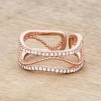 Marina Rose Gold Abstract Cuff Ring | 0.5ct