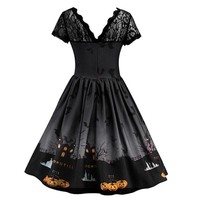 Plus Size Halloween Swing Dresses Robe Femme  Patchwork Pumpkin Print Evening Party Dress