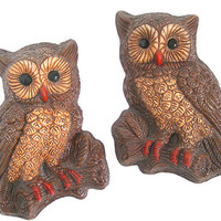 Horned Owl Wall Hangings, Vintage 1960s Era Woodland Cabin Home Wall Decor, Brown Tan Orange, Dorm Room, Child's Room, Wise Owl, Repaint