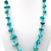 """Sleeping Beauty-Mine Turquoise Nugget Bead Necklace 28"""" Vintage"""