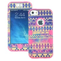 MagicSky PC + Silicone Galaxy Tribal Pattern Case for Apple iPhone 5C - 1 Pack - Retail Packaging - Hot Pink