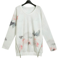 Ink Painting Print Long Sleeve Sweater and Stretchable Pants