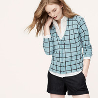 Windowpane V-Neck Cardigan | LOFT