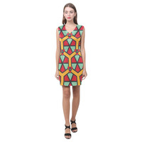 Honeycombs triangles and other shapes pattern Phoebe Sleeveless V-Neck Dress (Model D09) | ID: D1116073