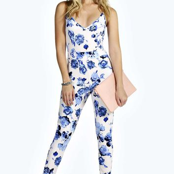 Lucy Strappy Stretch Crepe Floral Jumpsuit