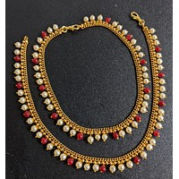 Faux pearl bead dangling gold imitation anklets