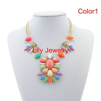 Statement Necklace Jewelry Colorful Necklace Bubble Necklace Flower Bib Necklace Choker Necklace Gold Chunky Chain Necklace Cheap Jewelry
