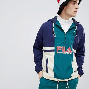 Fila overhead 1/2 zip colour block shell jacket in navy at asos.com