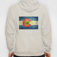 Retro Colorado State flag with the leaf - Marijuana leaf that is! Hoody by Bruce Stanfield