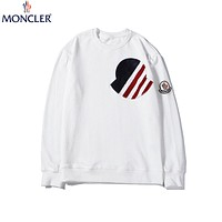 Moncler 2019 new cotton round neck long sleeve sweatshirt white