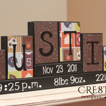Personalized Baby Blocks (6 letters Name)/Birth Stats Wood Blocks