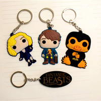 Hot Movie Fantastic Beasts Keychain and Where to Find Them Newt Queenie Niffler Logo Pendant Fashion Key chain for Men Women
