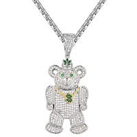 Weed Money Teddy Bear 14k Gold Finish Pendant