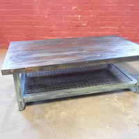 Coffee table, shabby chic table, industrial table, reclaimed wood and steel coffee table, steel table, handmade coffee table