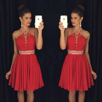 Halter Red Homecoming Dress, Dress for Homecoming