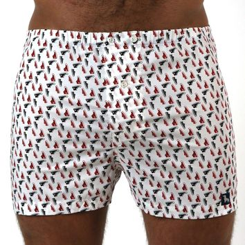 White With Red & Black Sneaker Print Boxer Short - Jackson Size L Available