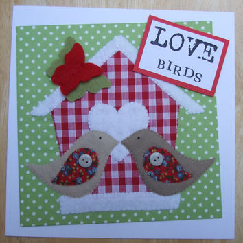 Handmade Shabby Chic Bird & Birdhouse Love Birds Cards