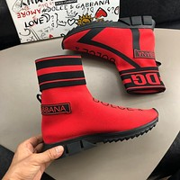 Dolce& Gabbana D&G Men Fashion Short boots shoes Casual Sports Shoes Red