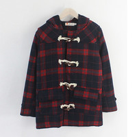 Wine Red Plaid Duffle Hooded Coat