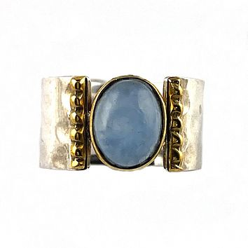 Aquamarine Two Tone Sterling Silver Hammered Band Ring