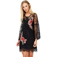 Rosette Embroidery Lace Bell Sleeve Dress