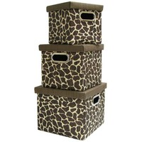 Giraffe Print Square Storage Boxes with Lids | Hobby Lobby