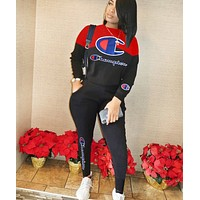 Champion Fashion New Letter Print Sports Leisure Long Sleeve Top And Pants Two Piece Suit Black