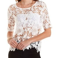 Floral Lace Top by Charlotte Russe - Ivory