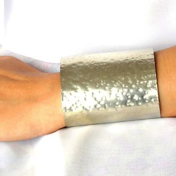 Wide Hammered Silver Cuff