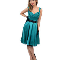 1950s Style Teal Satin Cocktail Swing Dress
