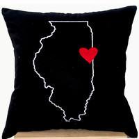 US State Map With Heart Pillow Case On Black Cotton Personalized Customized Cushion