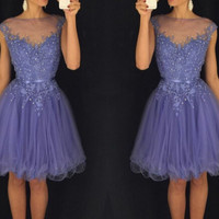 Homecoming Dresses, Beadings Tulle Short Lavender Homecoming Dress