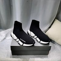 Balenciaga  Trending Women's men Black Leather Side Zip Lace-up Ankle Boots Shoes High Boots