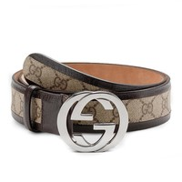 Gucci original GG canvas belt with interlocking G buckle 114874 9643 (brown) (38)