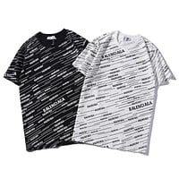 Balenciaga 2019 new full printed logo couple models round neck loose shirt T-shirt