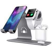 Bestand 3 in 1 Apple iWatch Stand, Airpods Charger Dock, Phone Desktop Tablet Holder for Airpods, Apple Watch/ iPhone X/8 Plus/8/ 7 Plus/ iPad, Grey(Patenting, Airpods Charging Case NOT Included)