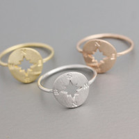 Lovely Nautical ring, Compass ring -  available color as listed (Gold/Silver/Pink Gold)