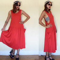 Vintage 90's cotton overalls dress oversized pockets maxi muscle tee dress