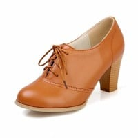 Show Shine Women's Sweet Chunky Heel Ankle High Oxfords Shoes (7.5, beige)