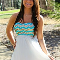Chevron Sequin Top Dress - Ivory