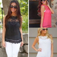 Women's Fashion Lace Tops Patchwork Plus Size T-shirts [5024203268]