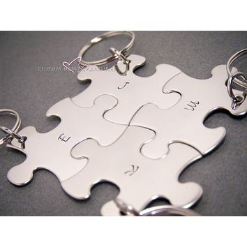 4 Keychain Set for Families or Groups, Puzzle Keychains, Christmas Gift