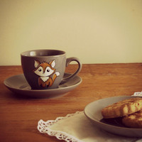 Fox  - espresso cup with saucer - rustic - hand painted