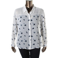 Two by Vince Camuto Womens Juniors Sheer Printed Blouse