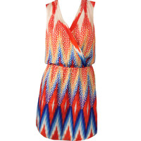 Red and Blue Multicolor Aztec Print Ariana Dress