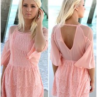 Summer Romance Pink Lace Quarter Sleeve Dress