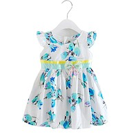 Summer baby girls dress toddler girls cotton dresses children summer floral clothing kids girls party princess dress