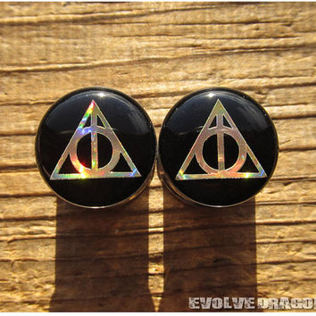 NEW Deathly Hallows Plugs (Gold Rainbow) - 00g, 7/16, 1/2, 9/16, 5/8, 3/4, 7/8, 1 Inch - Must See!